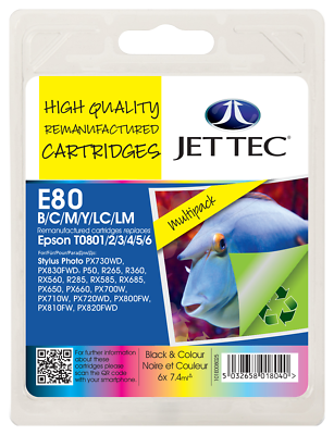 Jet Tec E80 Multipack Ink jet Print Cartridges, Replaces For Epson T0807 T080740 NON-OEM