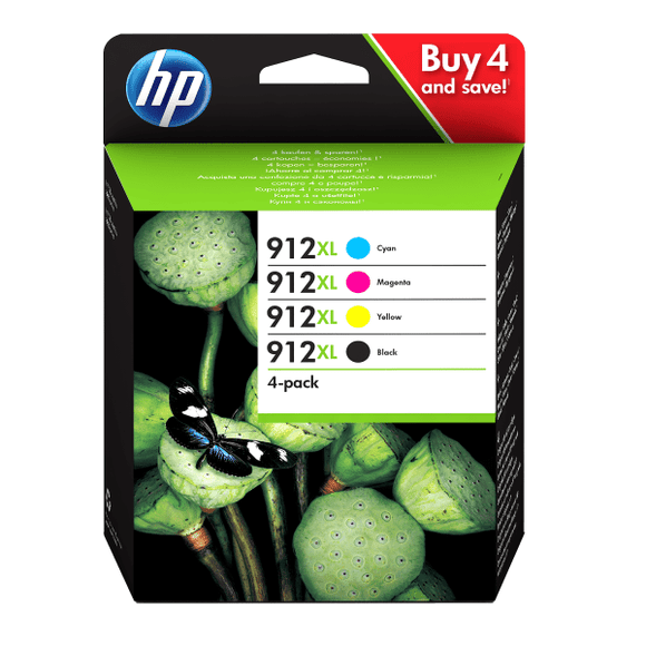 Genuine HP 912XL Multipack High Capacity Ink jet Printer Cartridges, 3YP34, 3YP34AE