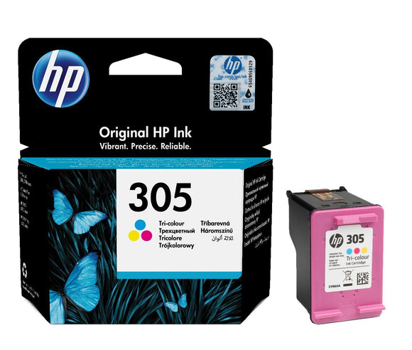 Genuine HP 305, Standard Capacity Tri-Colour Ink Cartridge, 3YM60, 3YM60AE
