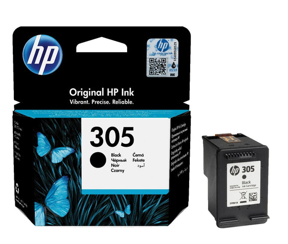Genuine HP 305, Standard Capacity Black Ink Cartridge, 3YM61, 3YM61AE
