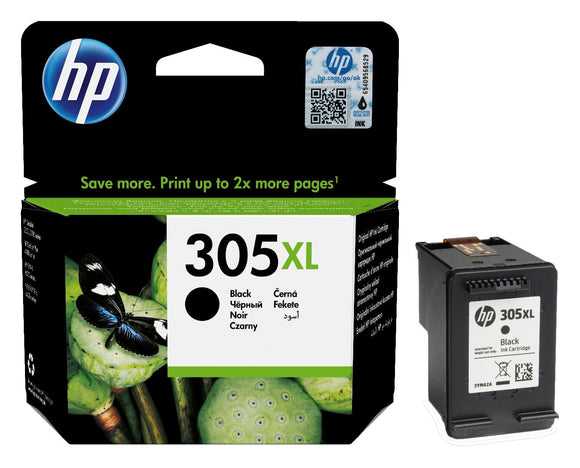 Genuine HP 305XL, High Capacity Black Ink Cartridges, 3YM62, 3YM62AE