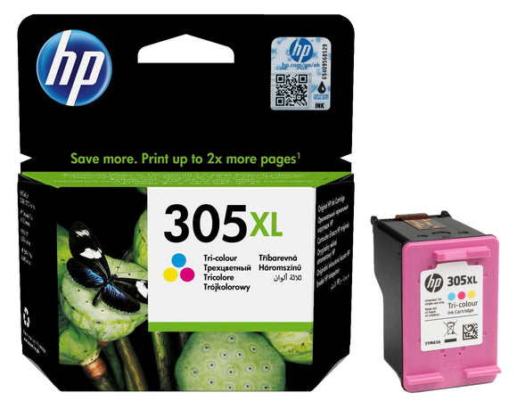 Genuine HP 305XL, High Capacity Tri-Colour Ink Cartridge, 3YM63, 3YM63AE