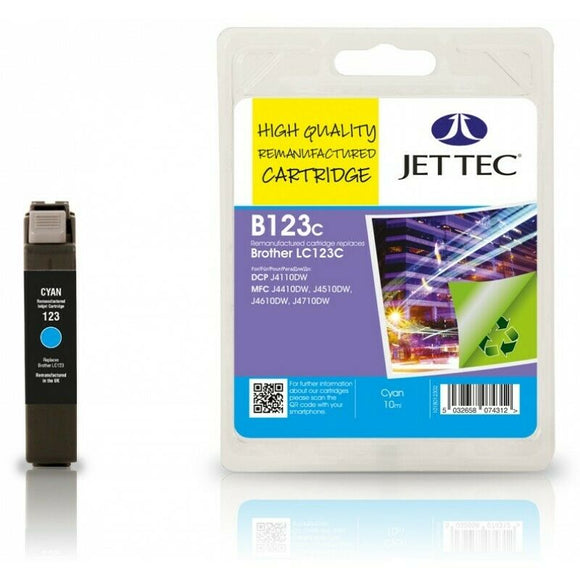 Jettec B123C, Cyan Remanufactured Ink jet Cartridge, For Brother LC123C, LC-123C