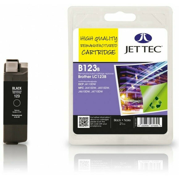 Jettec B123B. Black Remanufactured Ink Cartridge For Brother LC123BK LC-123BK