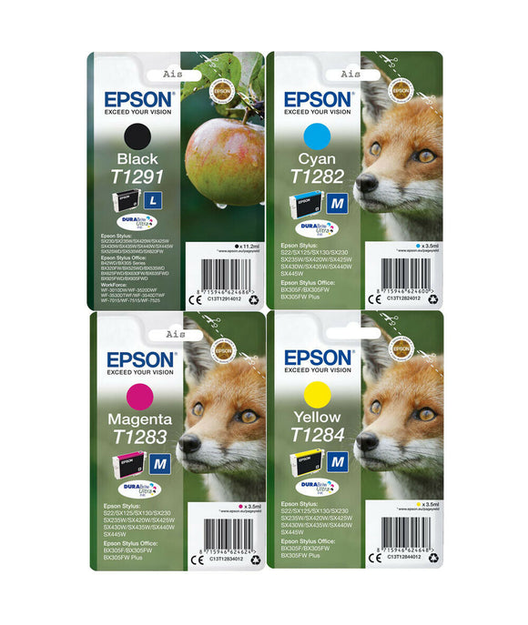 Genuine Epson DuraBrite Multipack Ink Cartridges, T1291, T1282, T1283, T1284, T1286