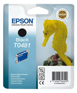 Genuine Epson T0481 Seahorse Black Ink jet Print Cartridge TO481 C13T4814010 New