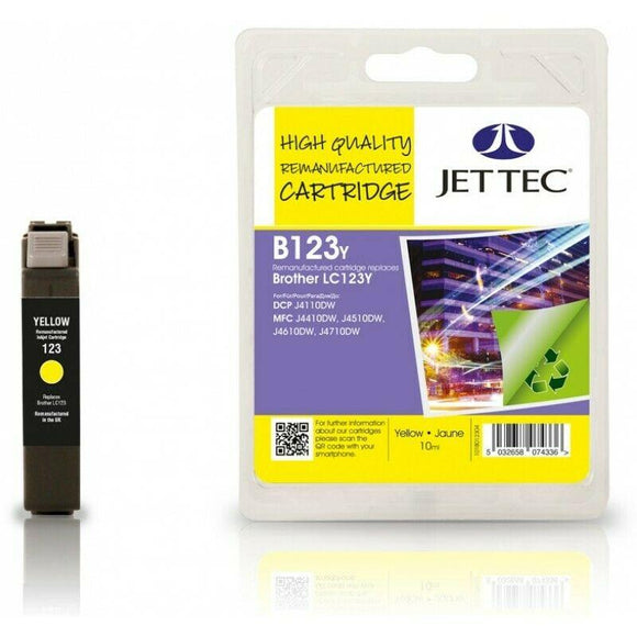 Jettec B123Y Yellow Ink jet Cartridge, Replaces For Brother LC-123Y,  LC-123Y, NON-OEM