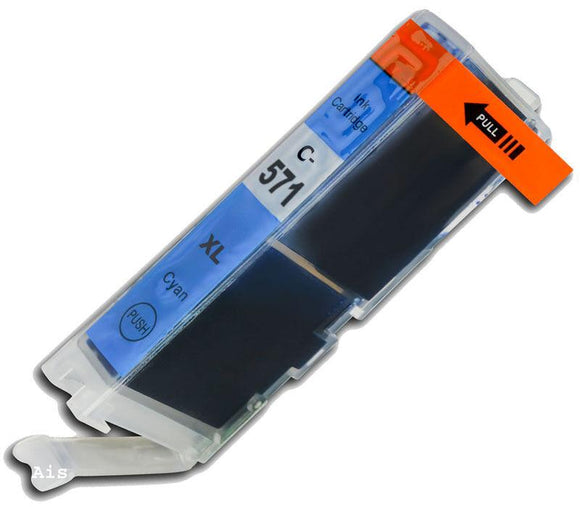 1 Cyan Compatible Ink Cartridges, Replaces For Canon CLI571XLC, CLI-571XLC, NON-OEM