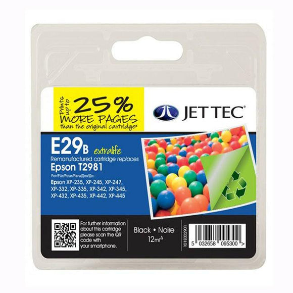 JetTec E29B, Black Remanufactured Ink Cartridge, Replaces For Epson 29, T2981