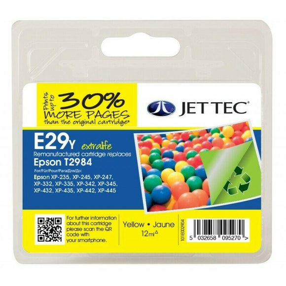 Jettec E29Y, Remanufactured Yellow Ink Cartridge, Replaces For Epson 29, T2984, C13T29844012