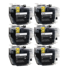 6 Black Compatible Ink Cartridges, Replaces For Brother LC3217 LC3217BK LC-3217BK NON-OEM
