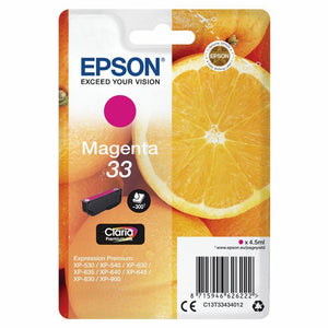 Genuine Epson 33, Oranges Claria Premium Magenta Ink Cartridge T3343, C13T33434012