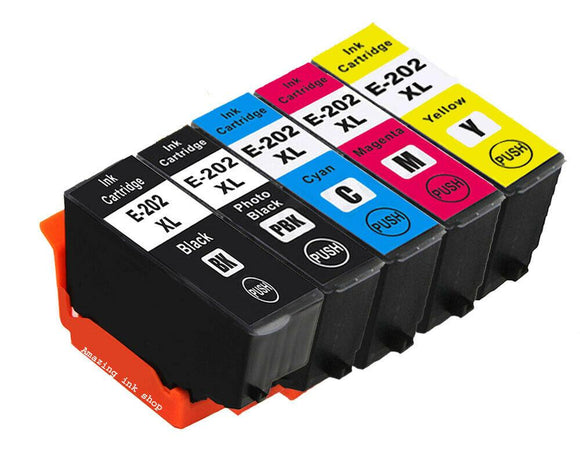 5 Compatible Multipack Ink Cartridges, Replaces For Epson 202XL, T02E7, T02G740 NON-OEM