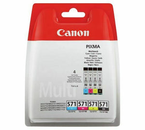 Genuine Canon Multi Pack Ink Cartridges, CLI-571BK CLI-571C CLI-571M CLI-571Y