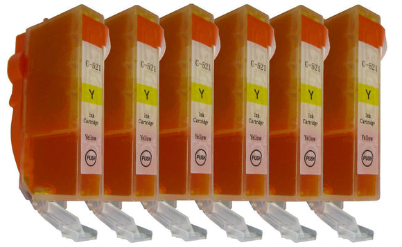 6 Yellow Compatible Ink Cartridges, Replaces For Canon CLI-521, CLI521Y, CLI-521Y NON-OEM