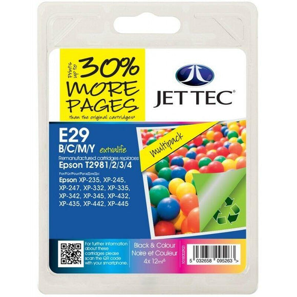 Jet Tec E29, Multipack Remanufactured Ink Cartridges, Replaces For Epson 29, T2986