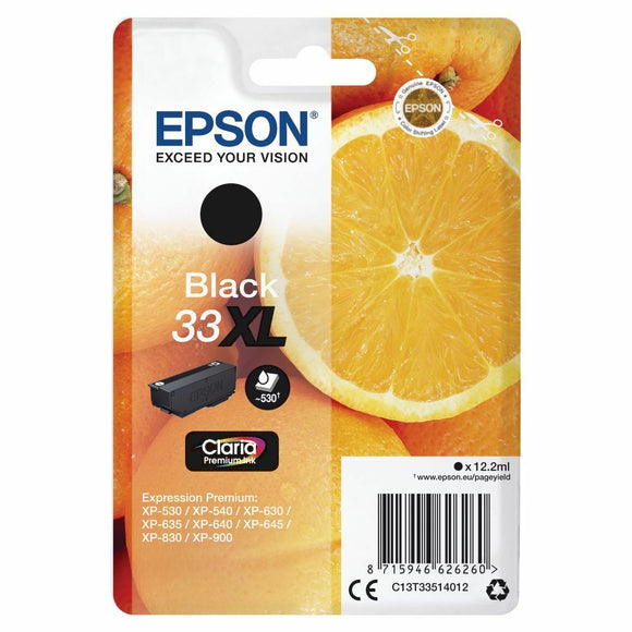 Genuine Epson 33XL, Oranges Claria Premium Black Ink Cartridge, T3351, C13T33514012