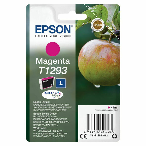 Genuine Epson T1293, Durabrite Apple Magenta Ink Cartridge, T129340, C1312934012