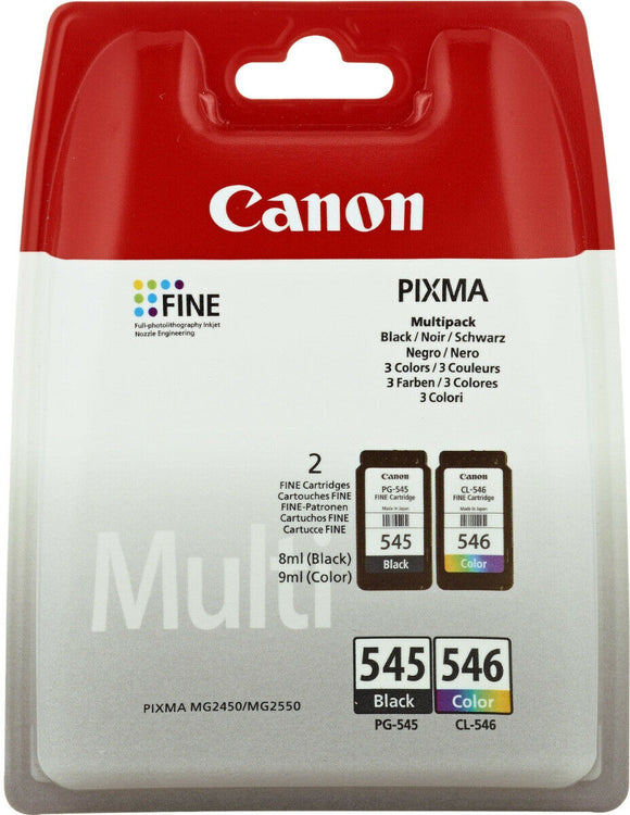 Canon PG-545 & CL-546 Black And Colour Ink jet Printer Cartridges PG545 Plus CL546