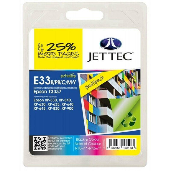 JetTec E33, Multiple Ink Cartridges, Replaces For Epson 33, T3331, T3341, T3342, T3343, T3344