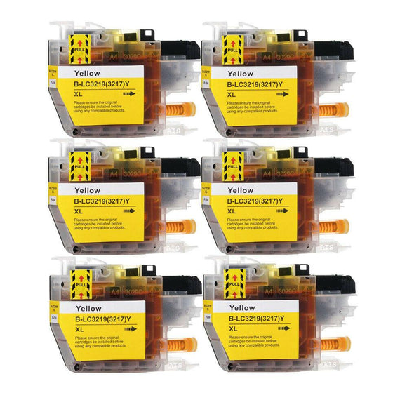 6 Yellow Compatible Ink Cartridges, Replaces For Brother LC3219XLY, LC-3219XLY NON-OEM
