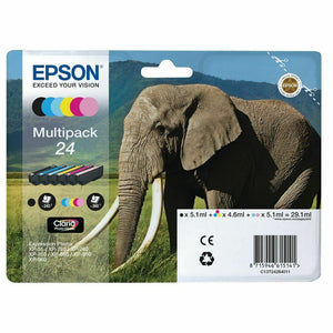 Genuine Epson 24, Multipack Elephant HD Ink Cartridges, T2428, C13T24284010