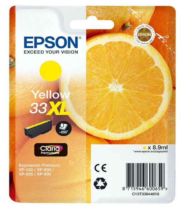 Genuine Epson 33XL, Oranges Claria Premium Yellow Ink Cartridges, T3364, T336440