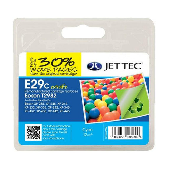 Jettec E29C Remanufactured Cyan Ink Cartridge, Replaces For Epson 29, T2982