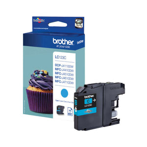 Genuine Brother LC123, Cyan Ink jet Printer Cartridges, LC123C, LC-123C, OEM