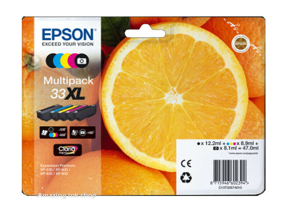 Epson 33XL, Multipack Claria Premium Photo Ink Jet Printer Cartridges, T3357, T335740