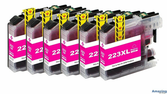 6 Compatible Magenta Ink Cartridges, Replaces For Brother LC223XLM, LC-223XLM NON-OEM