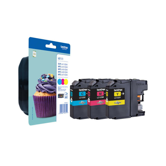 Genuine Brother LC123, Rainbow Pack Ink jet Printer Cartridge LC123C, LC123M, LC123Y