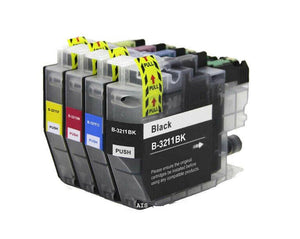 4 Ink Cartridges, Replaces For Brother LC-3211BK, LC-3211C, LC-3211M, LC-3211Y, NON-OEM