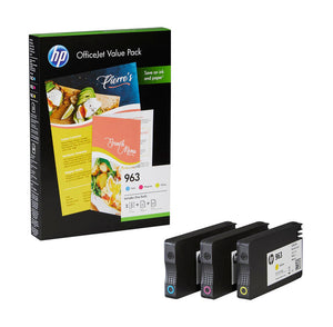 HP 963, Multipack Ink Cartridges, 3JA23AE, 3JA24AE, 3JA25AE, 6JR42AE, A4 Paper Kit
