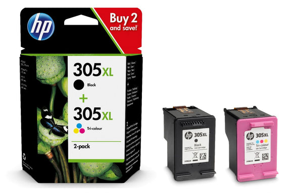 Genuine HP 305XL, Combo Pack Vivera Black & Tri-Colour Ink Cartridges, 6ZA94AE