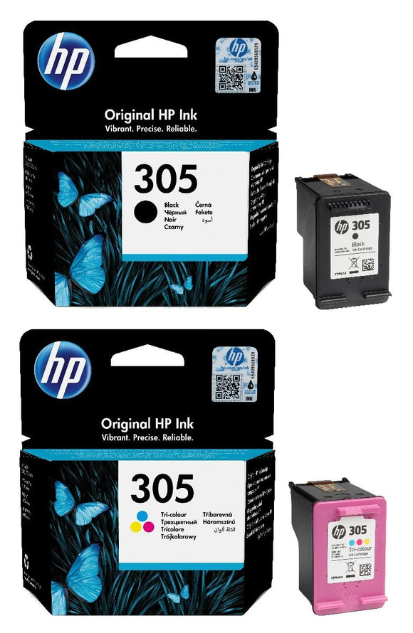 Genuine HP 305 Combo Pack Vivera Black & Tri-Colour Ink Cartridges, 3YM61AE, 3YM60AE