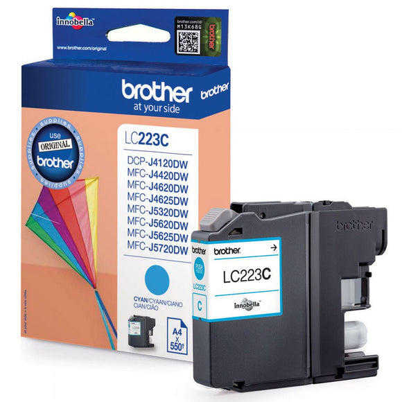 Genuine Brother LC223, Cyan Ink jet Printer Cartridge, LC223C, LC-223C