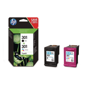 Genuine HP 301, Combo Pack Black & Tri-Colour Ink Cartridges, N9J72, N9J72AE