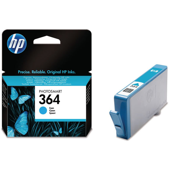 Genuine HP 364, Standard Capacity Cyan Ink jet Printer Cartridge, CB318, CB318EE