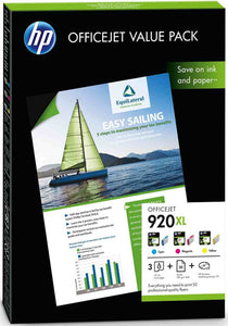 Genuine HP 920XL C/MY Ink jet Print Cartridge, plus 50 Sheets Paper, A4 180gsm CH081AE