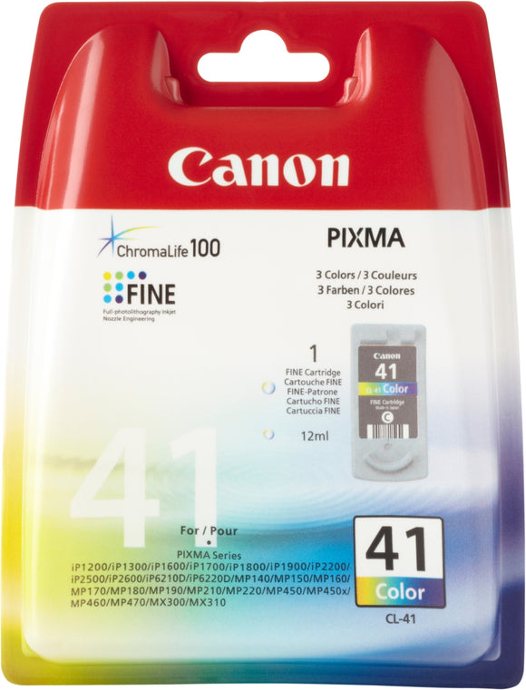 Genuine Canon CL41 Color Ink Jet Printer Cartridge, CL-41
