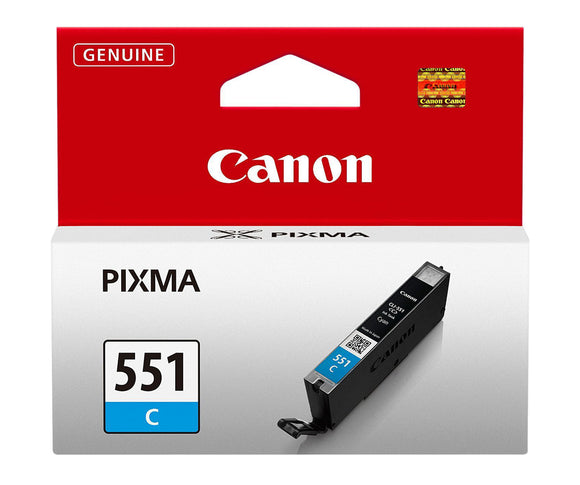 Genuine Canon 551C, Cyan Ink jet Printer Cartridge, CLI551C, CLI-551C, 6509B001