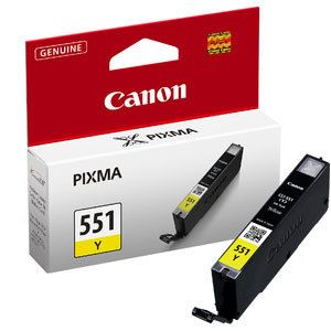 Genuine Canon 551Y Yellow Ink jet Printer Cartridge, CLI551Y, CLI-551Y, 6511B001
