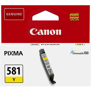 Genuine Canon 581, Yellow Ink jet Printer Cartridge CLI-581Y, CLI 581Y, 2105C001