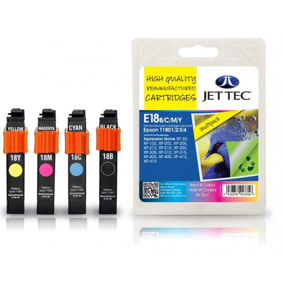 Jettec E18, Multipack Remanufactured Ink Cartridges Replaces For Epson 18, T1806, C3T18064012