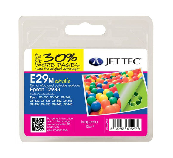 Jettec E29M Remanufactured Magenta Ink Cartridge, Replaces For Epson 29, T2983