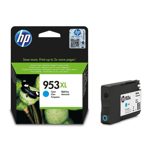 Genuine HP 953XL High Capacity Cyan Ink Cartridges, F6U16, F6U16AE