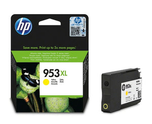 Genuine HP 953XL, High Capacity Yellow Ink Jet Printer Cartridge, F6U18, F6U18AE
