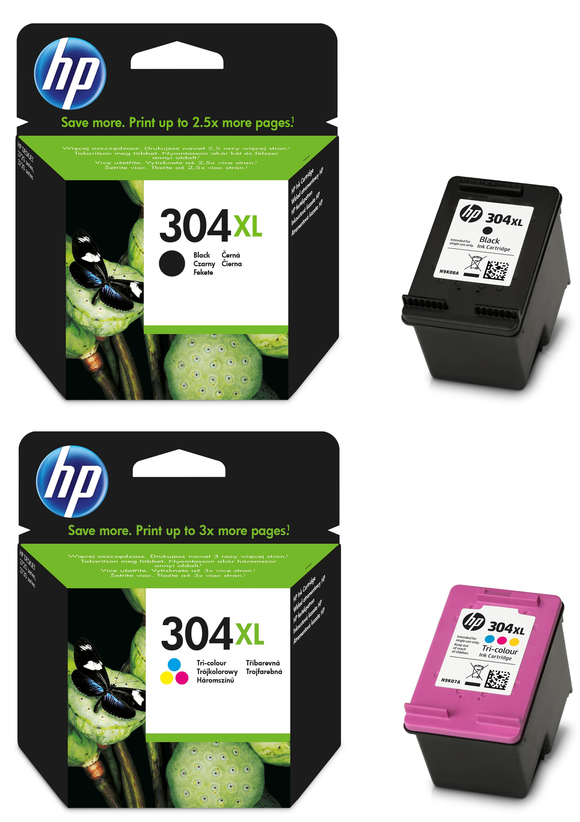 Genuine HP 304XL, Combo Pack Black & Tri-Colour Ink Cartridges, N9K07AE, N9K08AE