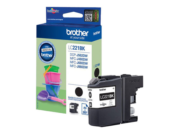 Genuine Brother LC221 Black Ink jet Printer Cartridge, LC221BK LC-221BK